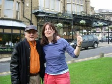 Amadito Valdes and Sue Miller outside Bettys Tearooms Harrogate 2008